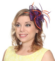 Flowers and Feather Clip Fascinator