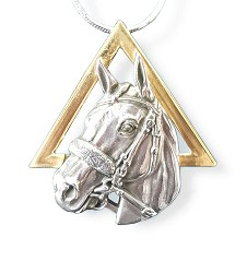 American Pharoah Sterling Head, 14k Pyramid Necklace