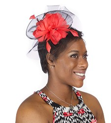 The Haute Veil Fascinator,KD32DERBY-BLK/RED