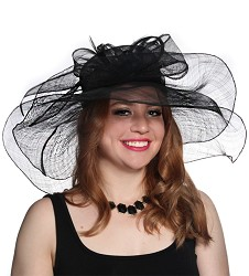The Double Brim Bow Hat,47DERBY-BLK