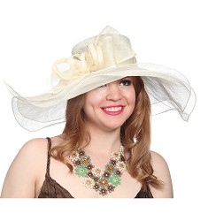 The Double Brim Bow Hat,KD47DERBY-IVORY