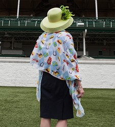 Kentucky Derby Handpainted Icons Shawl