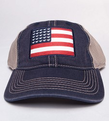 Kentucky Derby 143 Tea Stained Mesh Back Flag Cap,C48TSM 143Y1 NAVY/TA