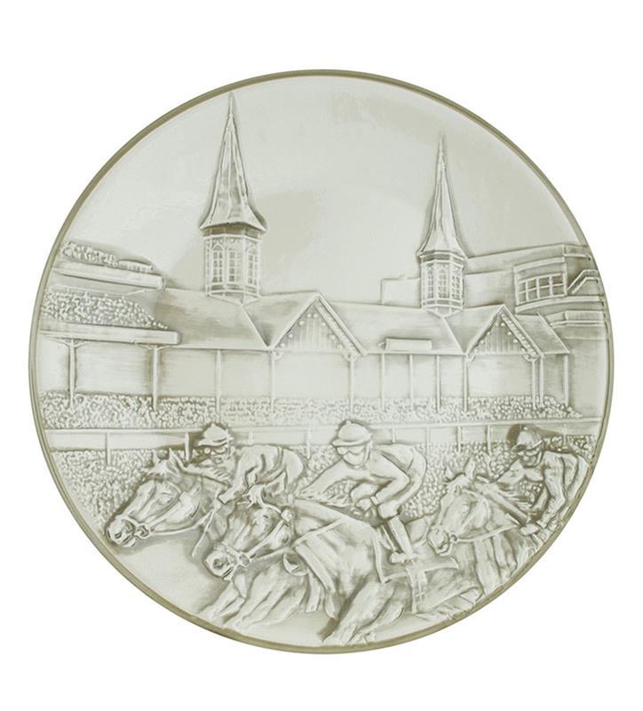 "Churchill Downs Embossed Grandstand Platter,Louisville Stoneware,ERHD944 15"" CRE"