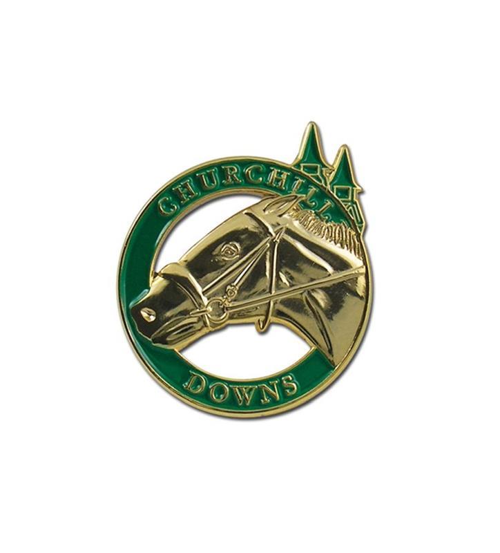 Horse and Spires Gold Circle Lapel Pin,KLPCD1G GOLD