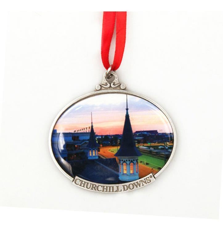 Churchill Downs Twin Spires Dusk Ornament,KOR206 RED RIBB