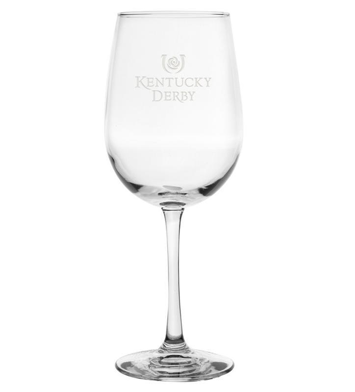 Kentucky Derby Etched Wine Glass,01-011 LT ETCH 16 OZ