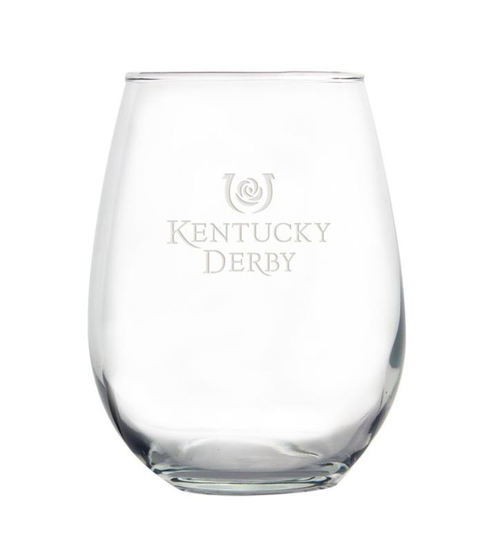Kentucky Derby Etched Stemless Wine Glass,01-036 LT ETCH 17 OZ