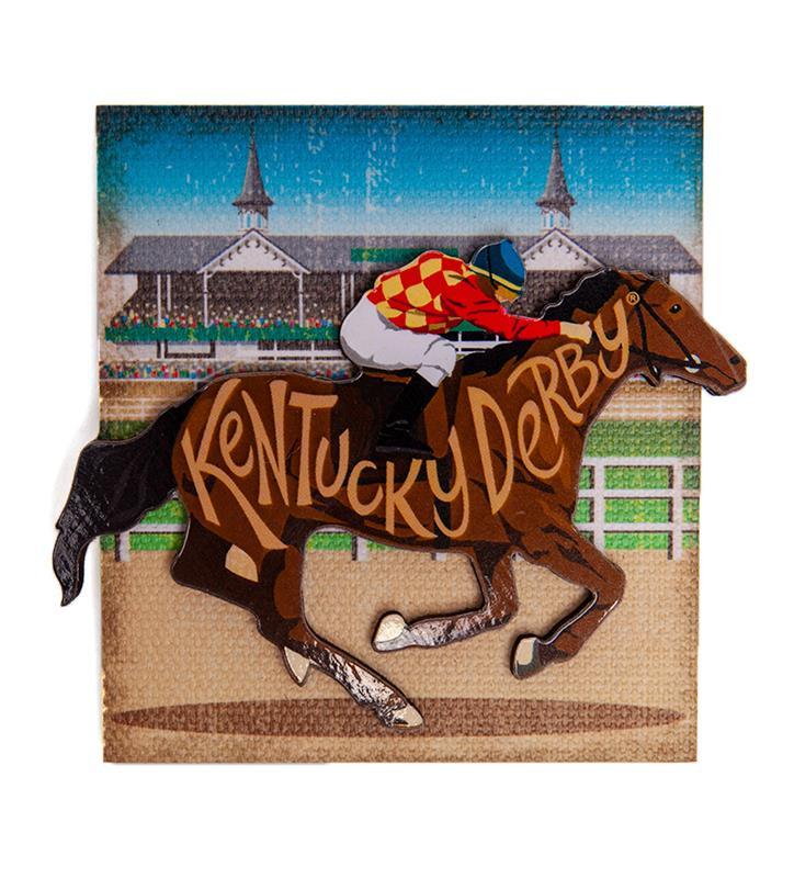 Kentucky Derby Horse & Jockey 2 Level Magnet,CMS48-25787