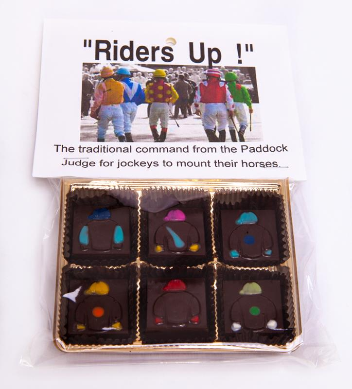 Riders Up! Jockey Silks Dark Chocolate Mint Squares-6pc