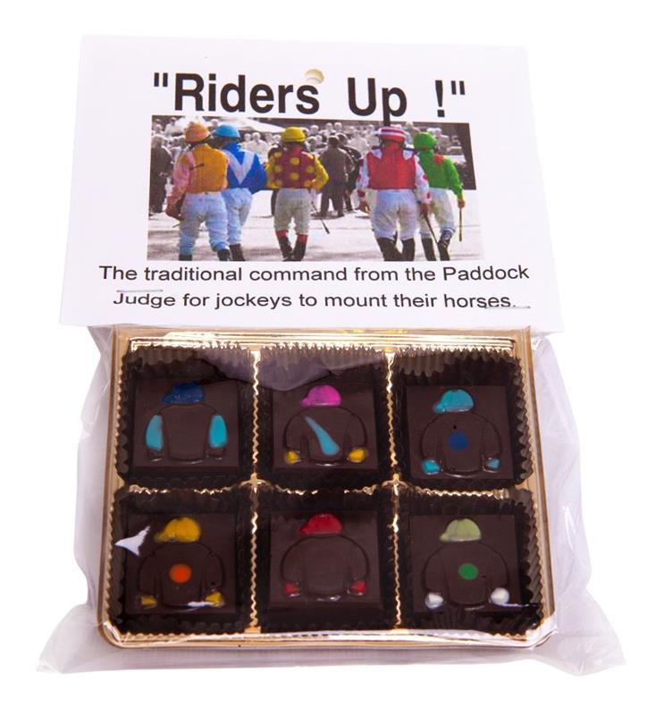 Riders Up! Jockey Silks Dark Chocolate Mint Squares-6pc