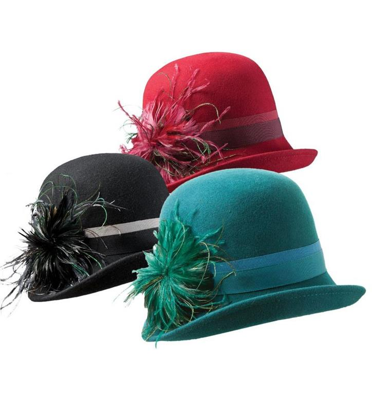 Ladies' Fashion Felt Cloche with Feathers,LF137-ASST