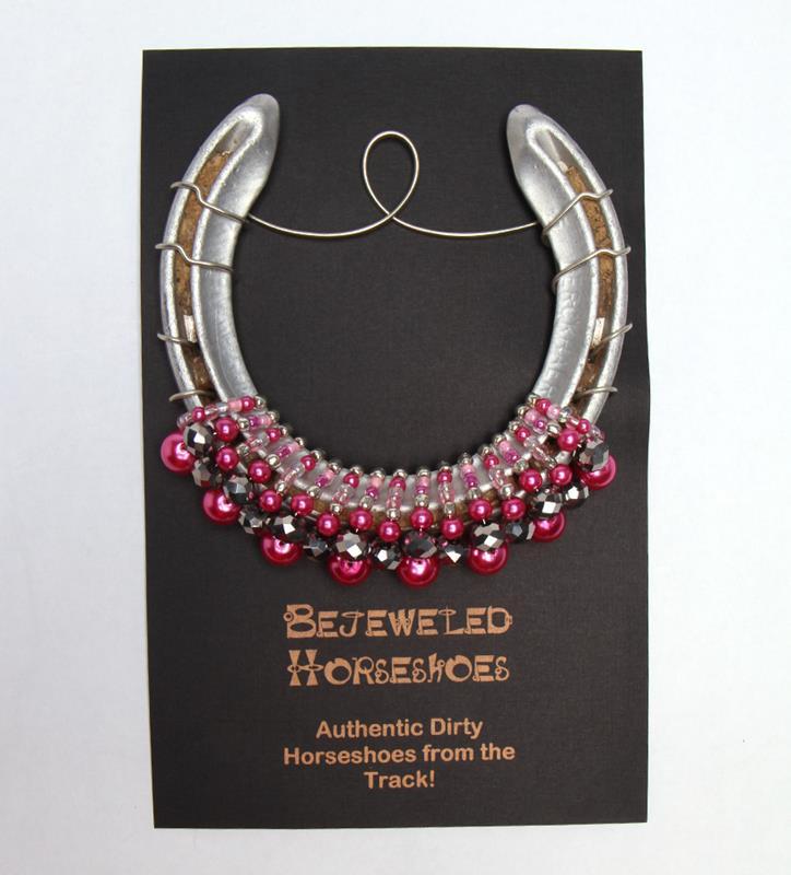 Ladies First Hot Pink Bejeweled Horseshoe,Bejeweld Horseshoes,HOT PINK OAKS