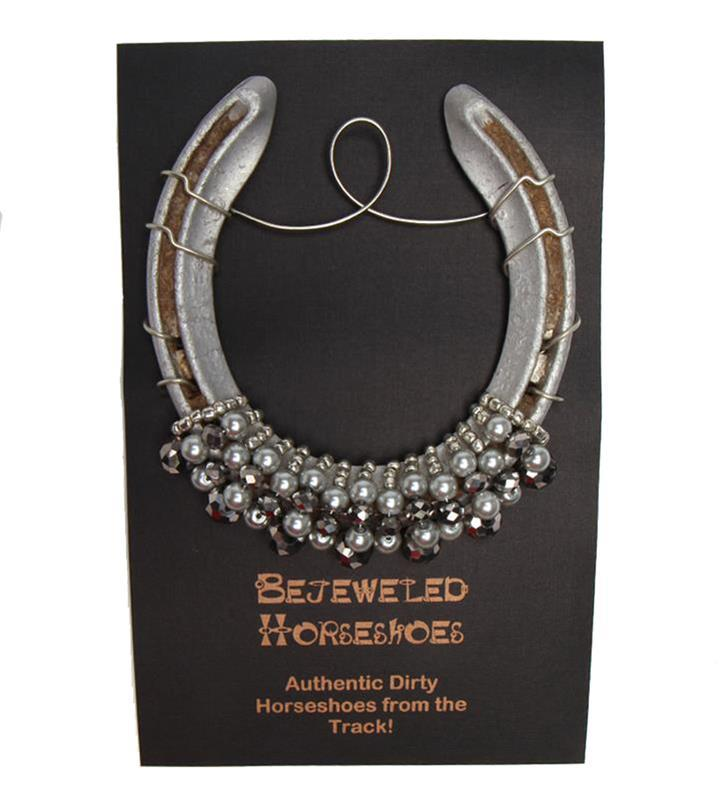 Silver Pearl Bejeweled Horseshoe,Bejeweld Horseshoes,SILVER WITH PEARL