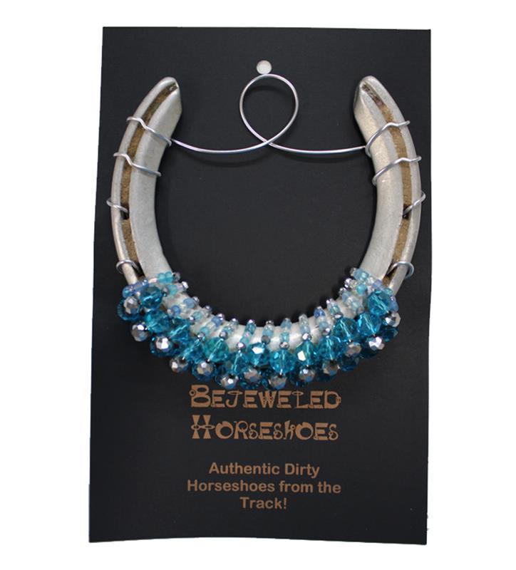 Turquoise and Crystal Bejeweled Horseshoe,Bejeweld Horseshoes,LIGHT TURQ CRYSTAL