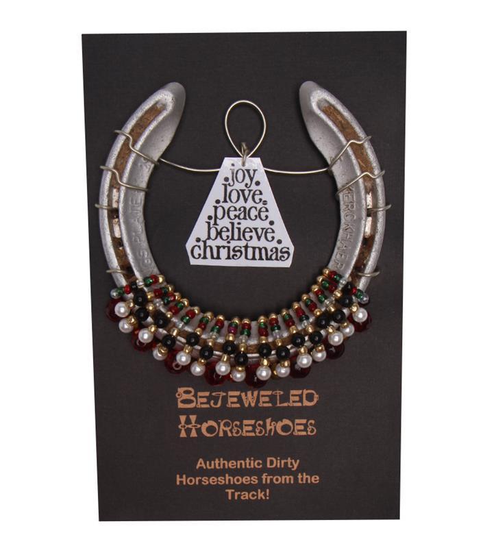 Holiday Bejeweled Horseshoe,Bejeweld Horseshoes,CHRISTMAS HS