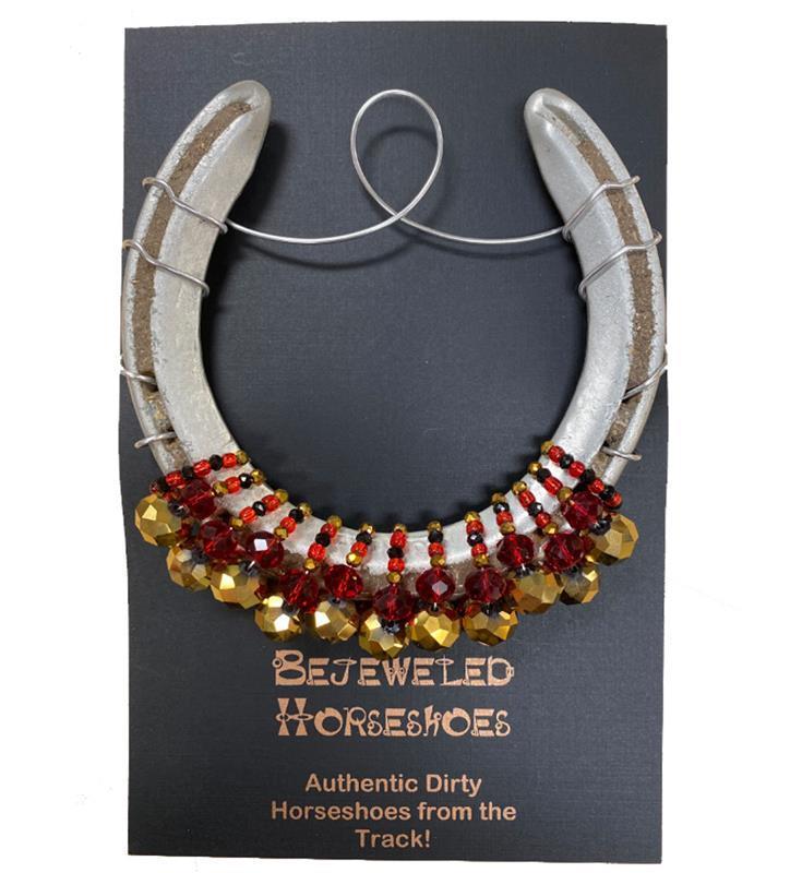 Louisville Red Bejeweled Horseshoe,Bejeweld Horseshoes,U OF RED HS