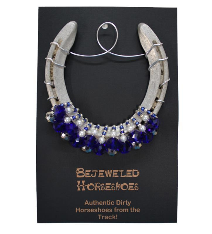 Lexington Blue Bejeweled Horseshoe,Bejeweld Horseshoes,U OF BLUE HS