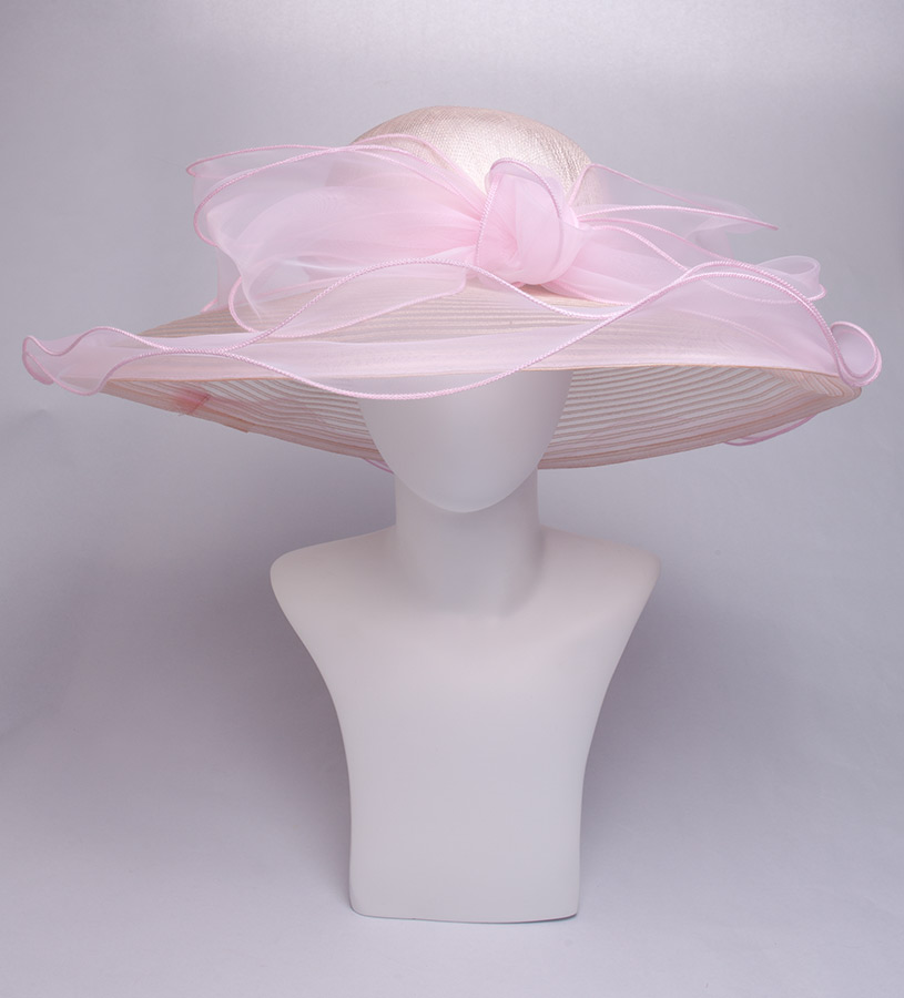The Horsehair and Organza Trim Hat,KD91DERBY-PINK