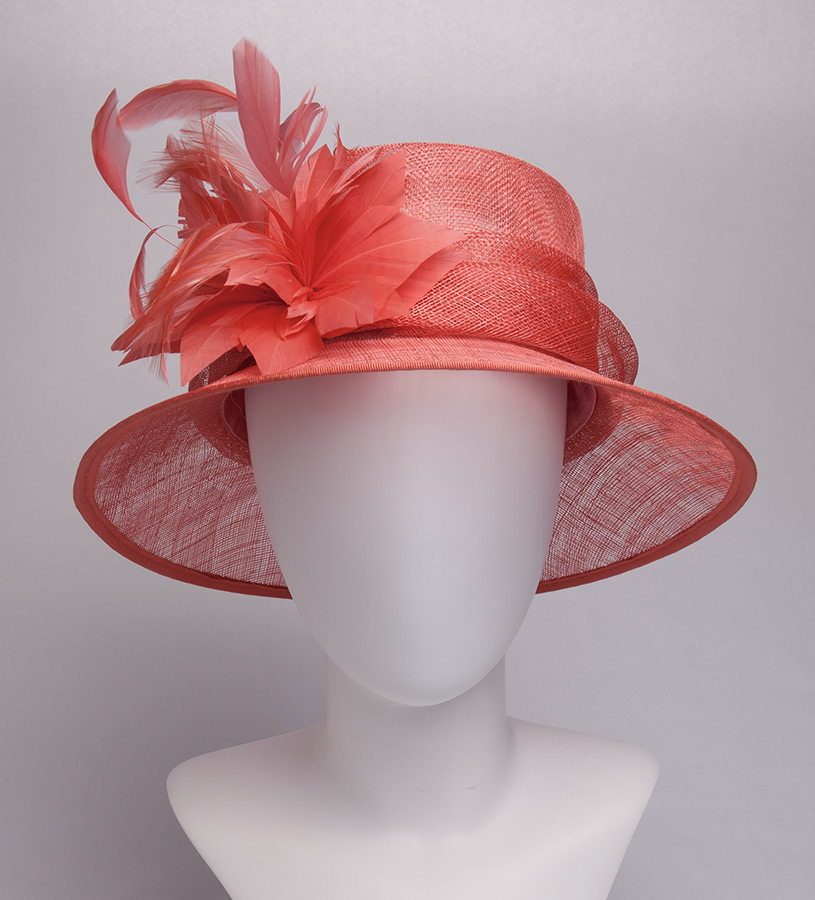 The Feather Burst Sinamay Hat,KD99DERBY-CORAL