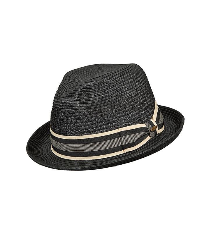 Vent Crown Braid Fedora,MS324-BLACK