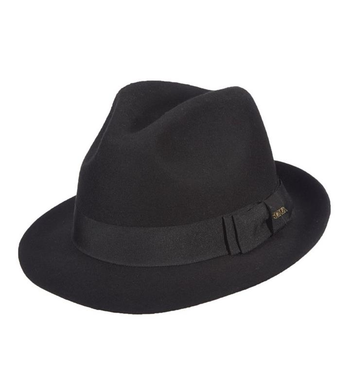 Men's Raw Edge Fedora,DF168-BLACK