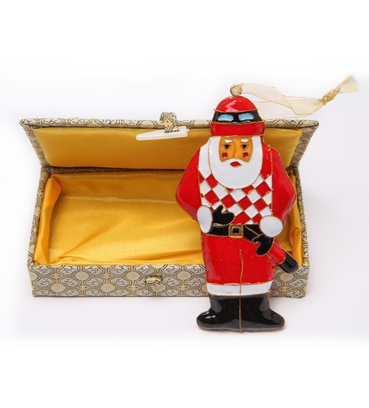 Santa Jockey Cloisonne Ornament by Kitty Keller,#12870-O