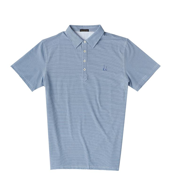 Churchill Downs Spires Logo Striped Polo,Twin Spires Collection,IS72410-NAUTICALWHIT
