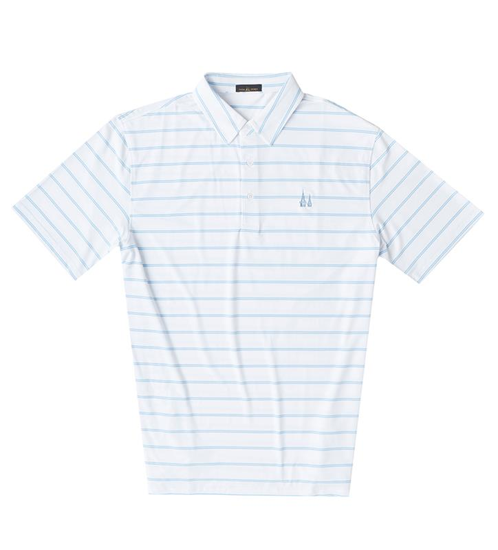 Churchill Downs Spires Logo Ecotec Striped Polo,Twin Spires Collection,IS96002-WHMAS