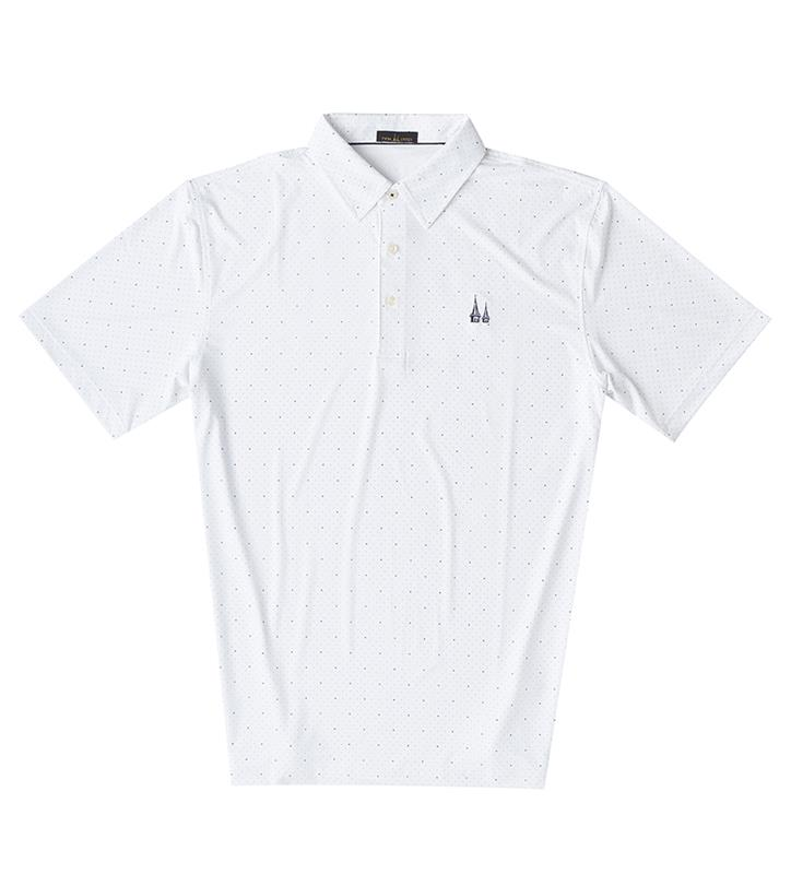 Churchill Downs Spires Logo Dotted Polo,Twin Spires Collection,IS76803-WHTNV