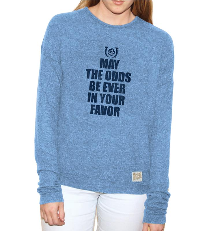 May The Odds Ladies Carolina Blue Washed Haachi Crew,Retro Brands,RB1979-061818LMN05