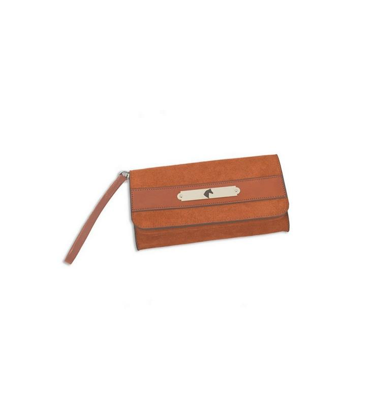 Suede Leather Clutch by Rebecca Ray,Rebecca Ray,RR1012-BROWN