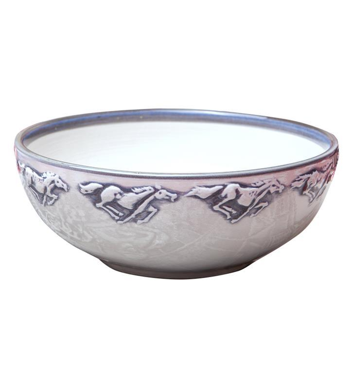 "7"" Embossed Running Horse Bowl by Louisville Stoneware,Louisville Stoneware,HRHD911"