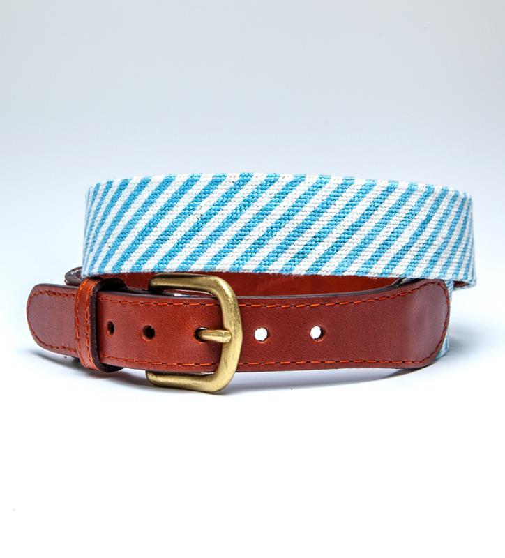 Blue Seersucker Belt by Smathers & Branson,Smathers & Branson,BLUE SEERSUCKER BELT
