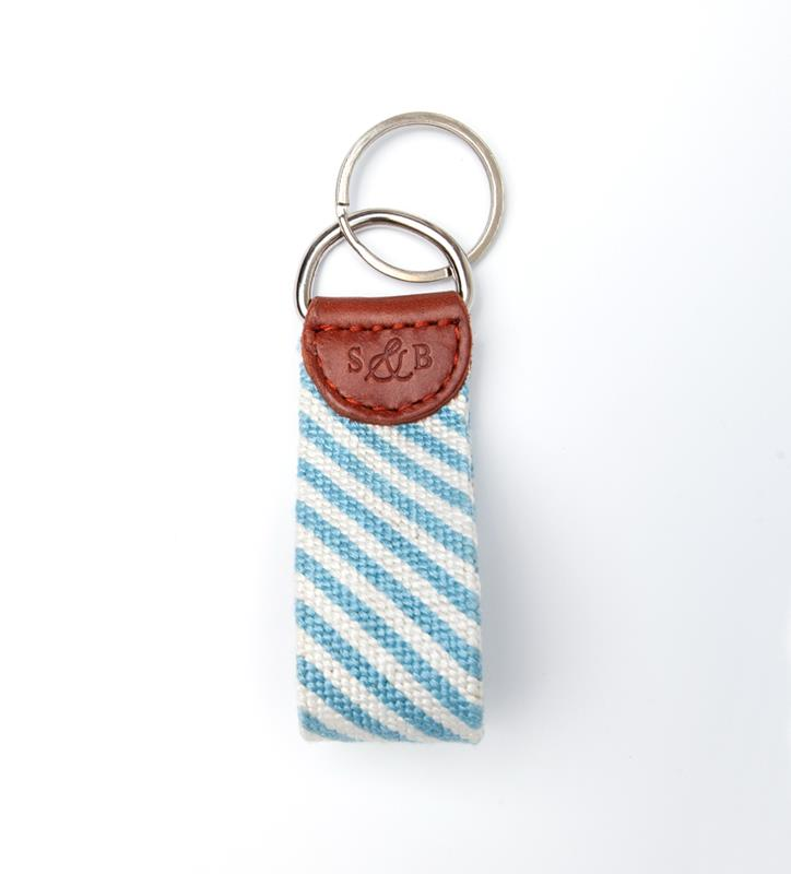 Blue Seersucker Key Fob by Smathers & Branson,Smathers & Branson,SEERSUCKER  KEY FOB