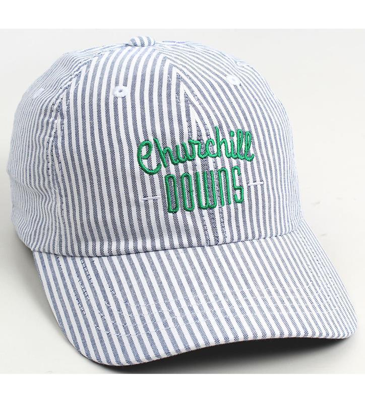 Churchill Downs Oxford Stripe Seersucker Ballcap,M47OXS-4260-SCYO#169