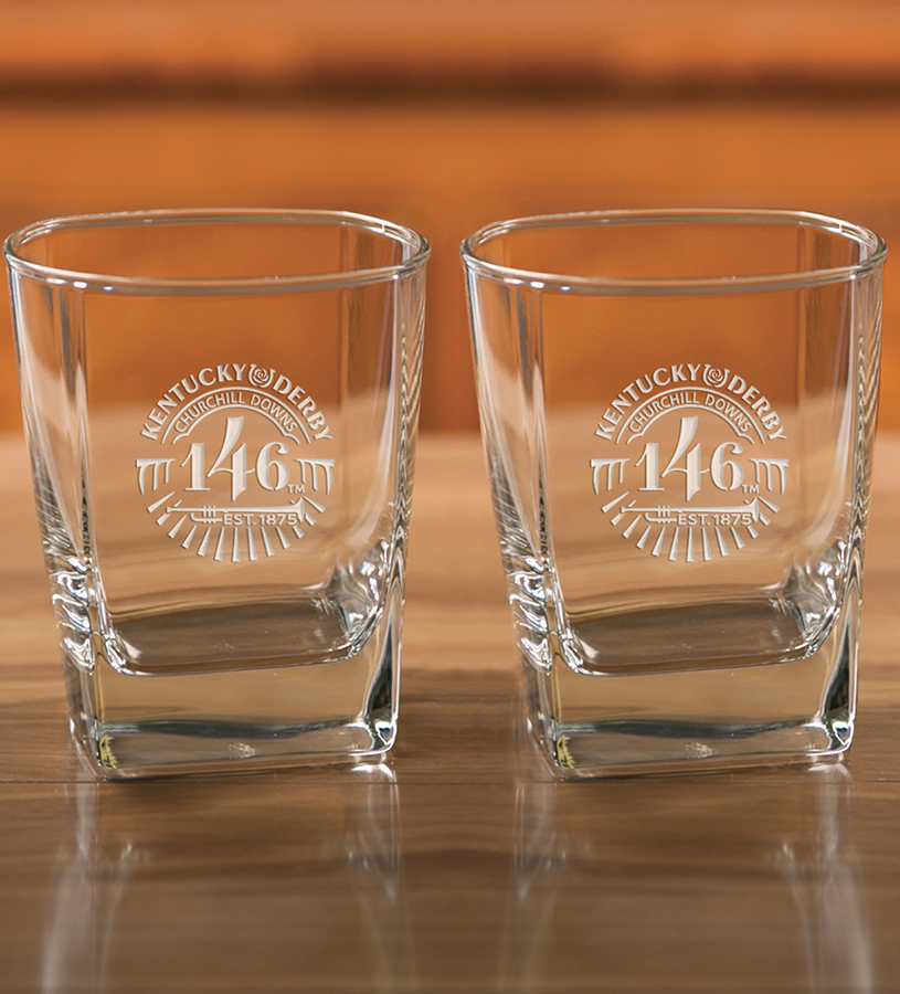 Kentucky Derby 146 Etched Square Double Old Fashioned Glass,03-204 LT ETCH 14 OZ