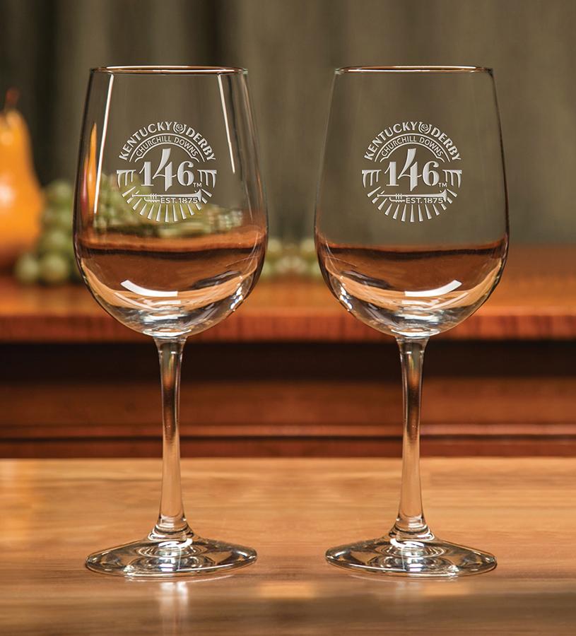 Kentucky Derby 146 Etched Wine Glass,01-012 LT ETCH 16 OZ