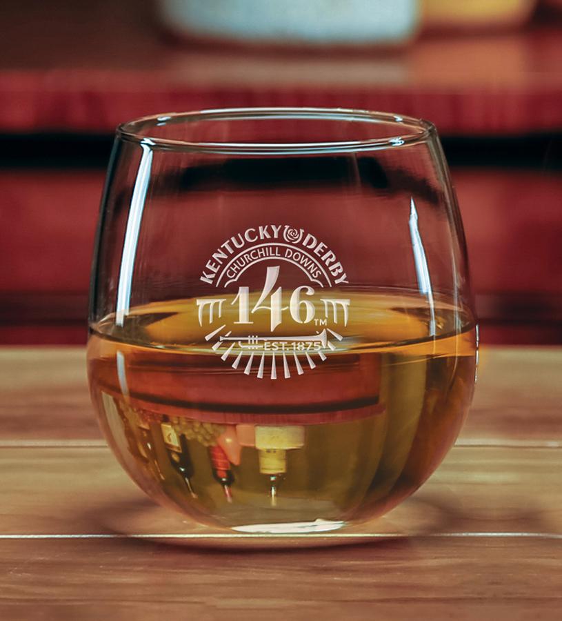 Kentucky Derby 146 Etched Stemless Wine Glass,01-037 LT ETCH16 OZ