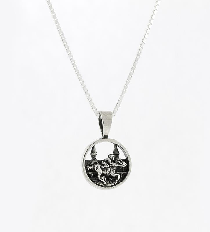 "Churchill  Grandstand Horse&Jockey Pendant with 18"" chain,Darren K. Moore,259-06 WC"