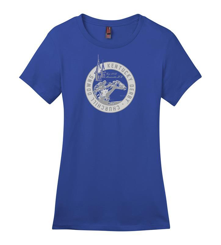 Churchill Downs Ladies' Spires and Horse & Jockey Tee,MC104L-4923-DEEPROY