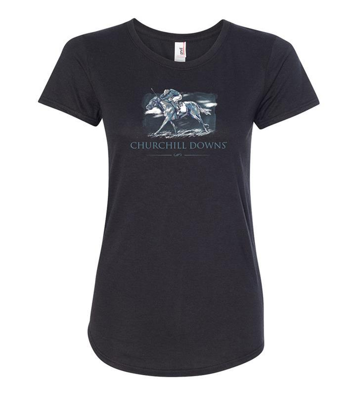 Churchill Downs Ladies' Painted Horse Tee,6750L-BLACK