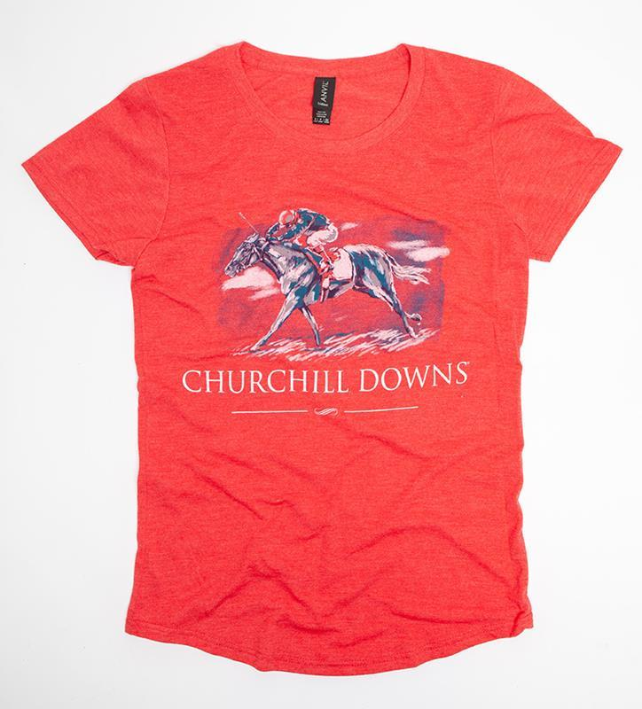 Churchill Downs Ladies' Painted Horse Tee,6750L-HEATHER