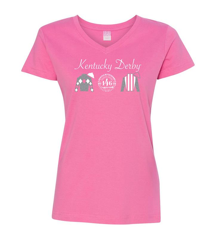 146 Kentucky Derby Ladies Glitter Silks V-Neck Tee,KYW0048-17B