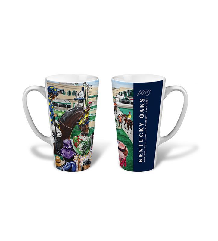 146 Art of the Oaks Latte Mug,Kentucky Derby 146-2020 Art of the Derby,AKY-N0018-14B
