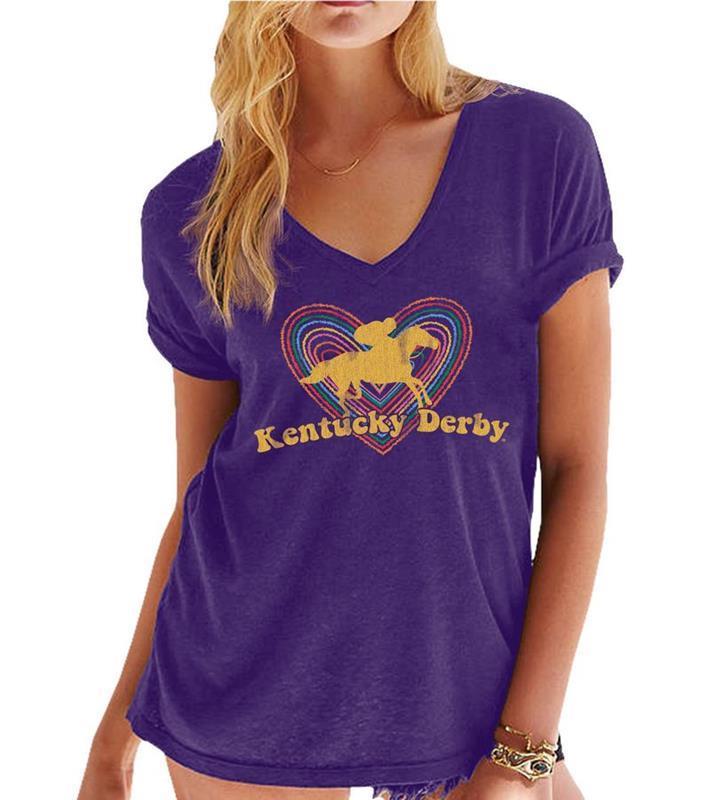 Ladies Kentucky Derby Heart Tee,Retro Brands,RB1901-082219LMN09